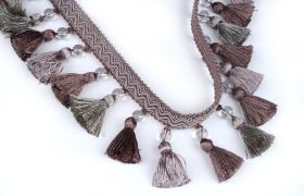 FRĘDZLE BAROQUE BRAID TASSEL FRINGE WITH GLASS AT.972A Aubergine