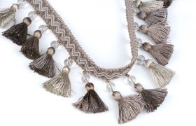 FRĘDZLE BAROQUE BRAID TASSEL FRINGE WITH GLASS AT.972A Aluminium
