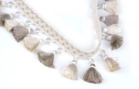 FRĘDZLE BAROQUE BRAID TASSEL FRINGE WITH GLASS AT.972A Silver