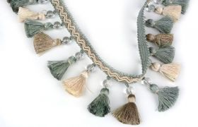 FRĘDZLE BAROQUE BRAID TASSEL FRINGE WITH GLASS AT.972A Mineral