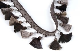 FRĘDZLE BAROQUE BRAID TASSEL FRINGE WITH GLASS AT.972A Graphite