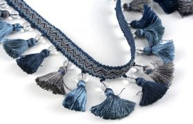 FRĘDZLE BAROQUE BRAID TASSEL FRINGE WITH GLASS AT.972A Marine