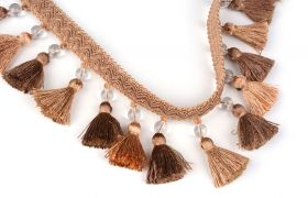 FRĘDZLE BAROQUE BRAID TASSEL FRINGE WITH GLASS AT.972A Butternut