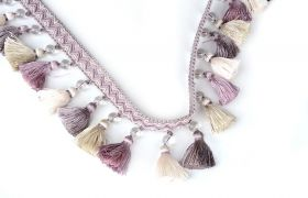 FRĘDZLE BAROQUE BRAID TASSEL FRINGE WITH GLASS AT.972A Crystal