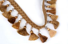 FRĘDZLE BAROQUE BRAID TASSEL FRINGE WITH GLASS AT.972A Gold