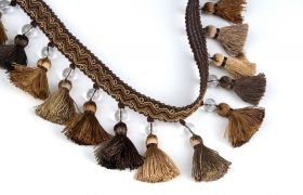 FRĘDZLE BAROQUE BRAID TASSEL FRINGE WITH GLASS AT.972A Toffee
